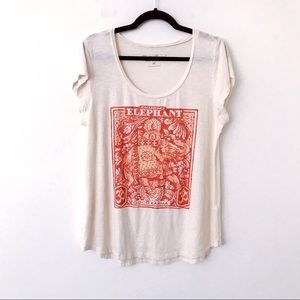 LUCKY BRAND Chanting Elephant Graphic Tee